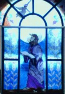 stained glass depiction of saint matthew